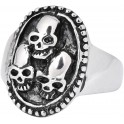 Steel Basicline® Triple Skull Ring