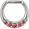 Steel Basicline® Colourful Jewelled Hinged Septum Smooth Segment Ring