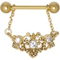 Steel Basicline® Golden Floral Nipple Nipple Barbell